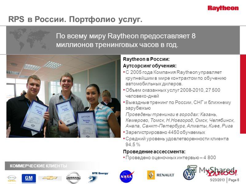 Page 85/23/2013 RPS в России. Портфолио услуг. Raytheon в России: Аутсорсинг обучения: С 2005 года Компания Raytheon управляет крупнейшим в мире контрактом по обучению автомобильных дилеров. Объем оказанных услуг 2008-2010, 27 500 человеко-дней Выезд