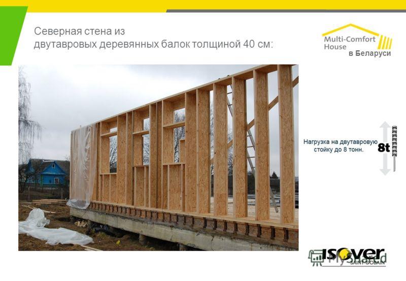 Северная стена из двутавровых деревянных балок толщиной 40 см: в Беларуси