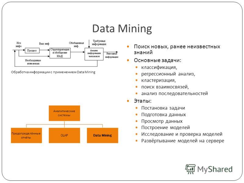 Data Mining Поиск новых, ранее неизвестных знаний Основные задачи: классификация, регрессионный анализ, кластеризация, поиск взаимосвязей, анализ последовательностей Этапы: Постановка задачи Подготовка данных Просмотр данных Построение моделей Исслед