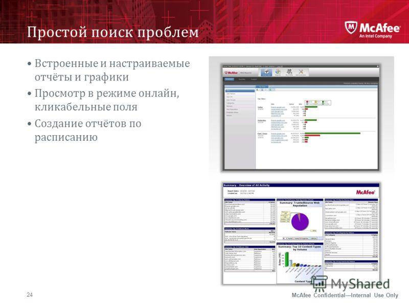McAfee ConfidentialInternal Use Only Простой поиск проблем 24 Встроенные и настраиваемые отчёты и графики Просмотр в режиме онлайн, кликабельные поля Создание отчётов по расписанию