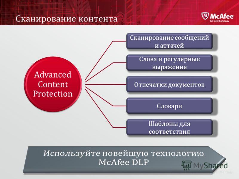 McAfee ConfidentialInternal Use Only Сканирование контента Advanced Content Protection Сканирование сообщений и аттачей Слова и регулярные выражения Отпечатки документов Шаблоны для соответствия Словари