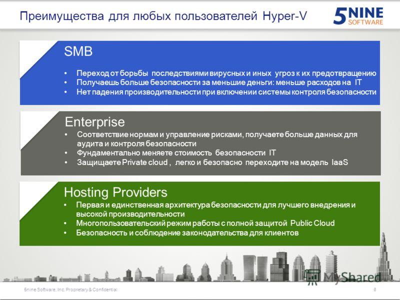Physical NIC Цель 5nine Security Manager: расширить возможности Hyper-V Extensible Switch в фильтрации сетевого трафика и выполнении его антивирусной проверки Расширения Windows Filter Platform (WFP) могут проверять, удалять, изменять и вставлять пак