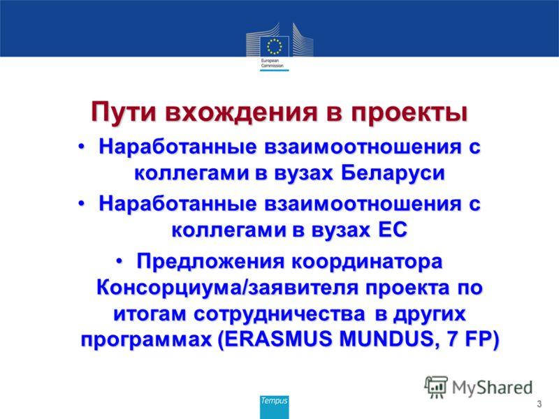 Пути вхождения в проекты Наработанные взаимоотношения с коллегами в вузах БеларусиНаработанные взаимоотношения с коллегами в вузах Беларуси Наработанные взаимоотношения с коллегами в вузах ЕСНаработанные взаимоотношения с коллегами в вузах ЕС Предлож