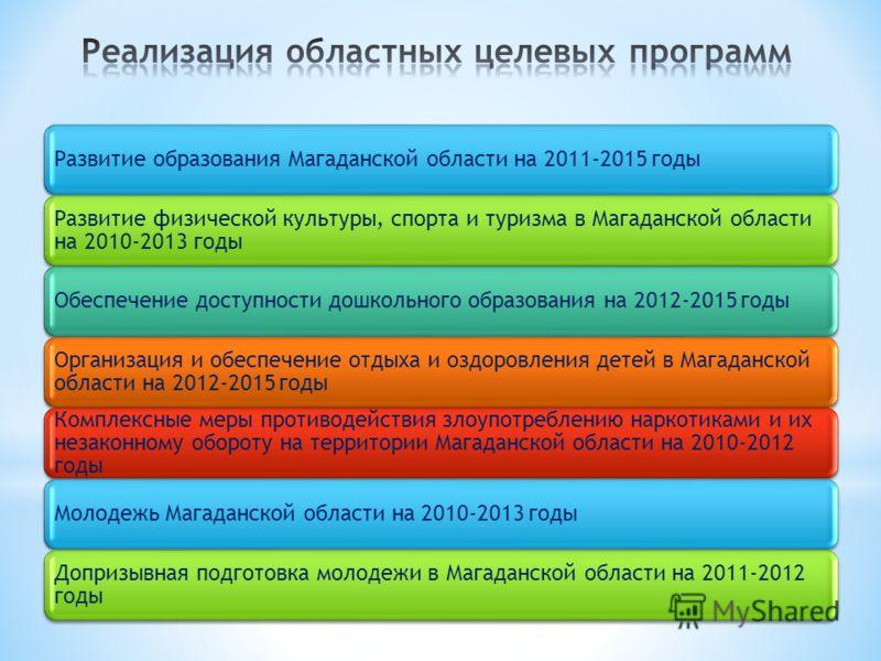 Развитие образования Магаданской области на 2011-2015 годы Развитие физической культуры, спорта и туризма в Магаданской области на 2010-2013 годы Обеспечение доступности дошкольного образования на 2012-2015 годы Организация и обеспечение отдыха и озд