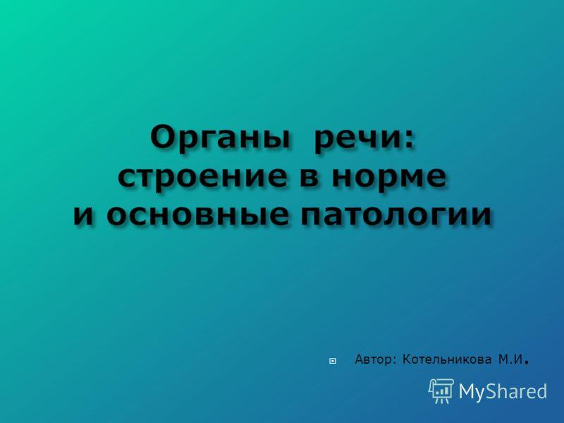 Автор: Котельникова М.И.