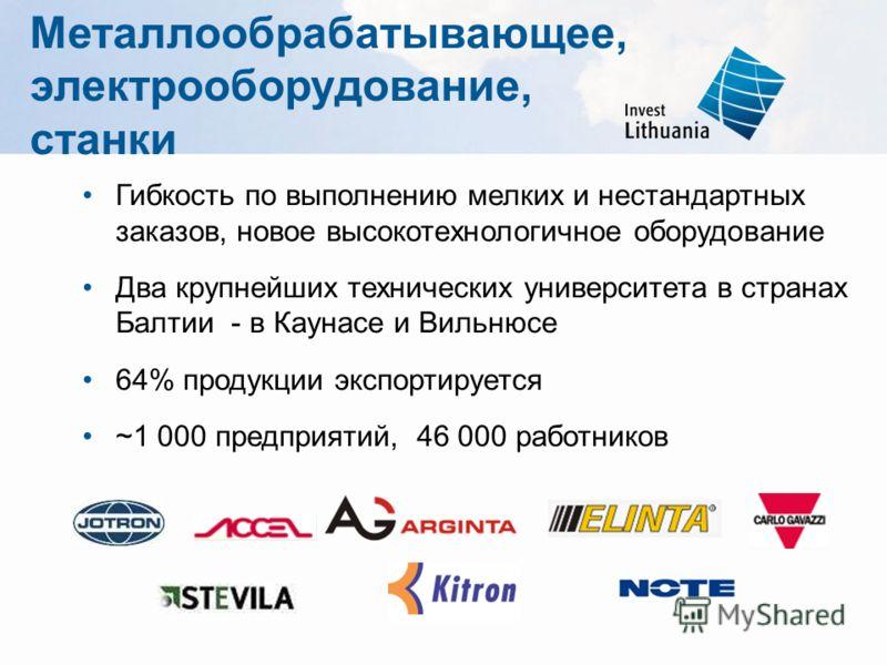 Металлообрабатывающее, электрооборудование, станки Гибкость по выполнению мелких и нестандартных заказов, новое высокотехнологичное оборудование Два крупнейших технических университета в странах Балтии - в Каунасе и Вильнюсе 64% продукции экспортируе
