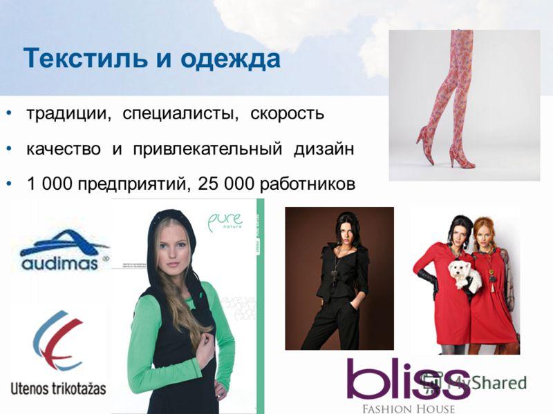 Текстиль и одежда традиции, специалисты, скорость качество и привлекательный дизайн 1 000 предприятий, 25 000 работников