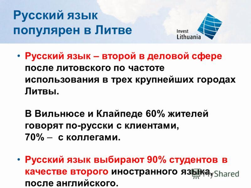 Русский язык популярен в Литве Русский язык – второй в деловой сфере после литовского по частоте использования в трех крупнейших городах Литвы. В Вильнюсе и Клайпеде 60% жителей говорят по-русски с клиентами, 70% – с коллегами. Русский язык выбирают