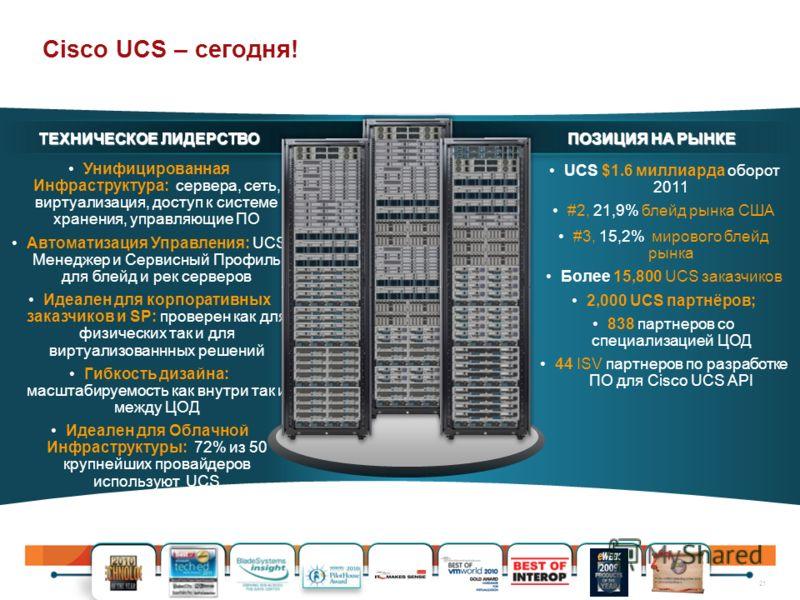 21 Унифицированная Инфраструктура: сервера, сеть, виртуализация, доступ к системе хранения, управляющие ПО Автоматизация Управления: UCS Менеджер и Сервисный Профиль для блейд и рек серверов Идеален для корпоративных заказчиков и SP: проверен как для