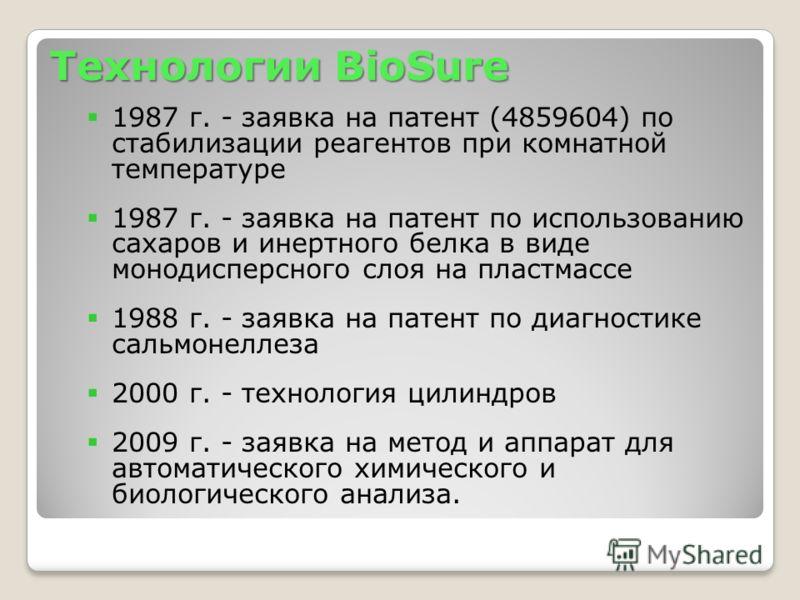 Технологии BioSure 1987 г. - заявка на патент (4859604) по стабилизации реагентов при комнатной температуре 1987 г. - заявка на патент по использованию сахаров и инертного белка в виде монодисперсного слоя на пластмассе 1988 г. - заявка на патент по