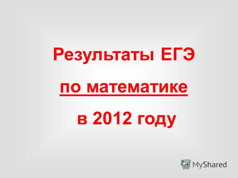 Результаты ЕГЭ по математике в 2012 году