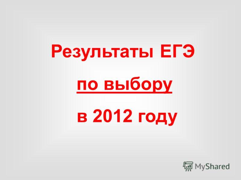 Результаты ЕГЭ по выбору в 2012 году