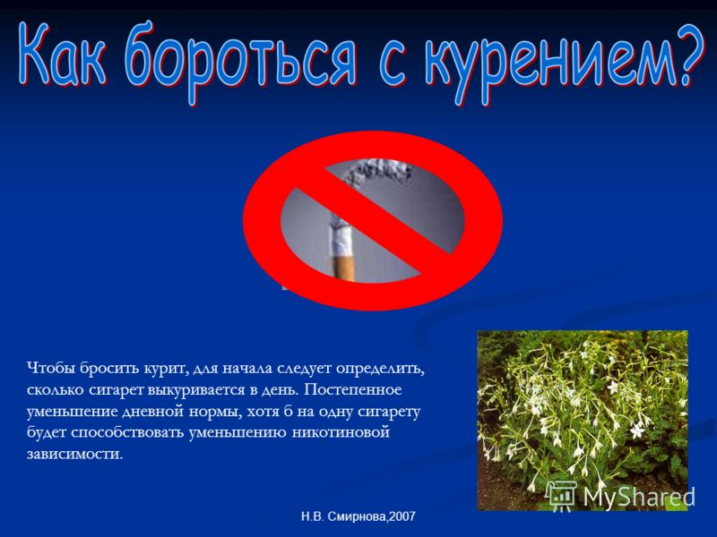 Н.В. Смирнова,2007 Чтобы бросить курит, для начала следует определить, сколько сигарет выкуривается в день. Постепенное уменьшение дневной нормы, хотя б на одну сигарету будет способствовать уменьшению никотиновой зависимости.