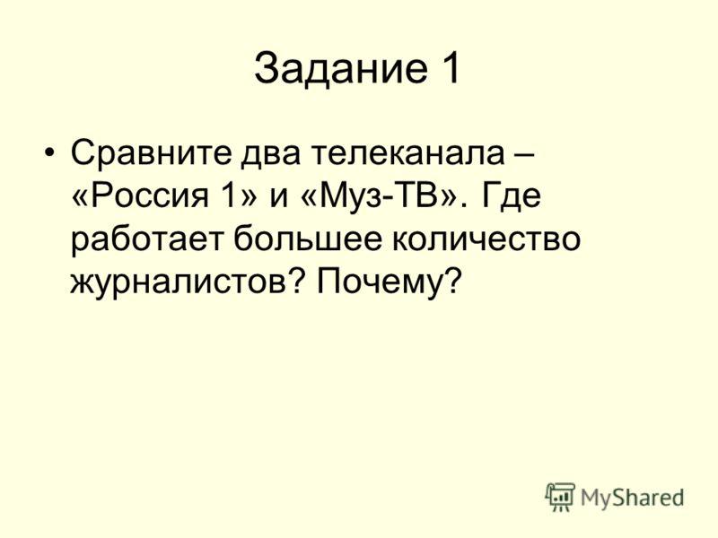 Задание 1 Сравните два телеканала – «Россия 1» и «Муз-ТВ». Где работает большее количество журналистов? Почему?