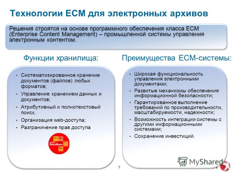 Технологии ECM для электронных архивов 5 Систематизированное хранение документов (файлов) любых форматов; Управление хранением данных и документов; Атрибутивный и полнотекстовый поиск. Организация web-доступа; Разграничение прав доступа Функции храни