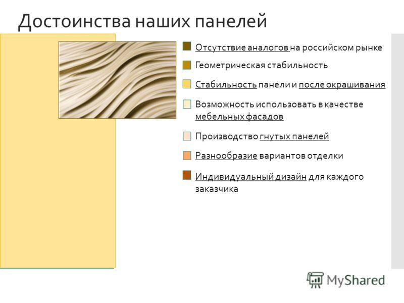 Достоинства наших панелей Отсутствие аналогов на российском рынке Геометрическая стабильность Стабильность панели и после окрашивания Возможность использовать в качестве мебельных фасадов Производство гнутых панелей Разнообразие вариантов отделки Инд