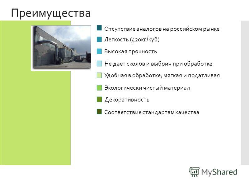 Преимущества Отсутствие аналогов на российском рынке Легкость (420кг/куб) Высокая прочность Не дает сколов и выбоин при обработке Удобная в обработке, мягкая и податливая Экологически чистый материал Декоративность Соответствие стандартам качества