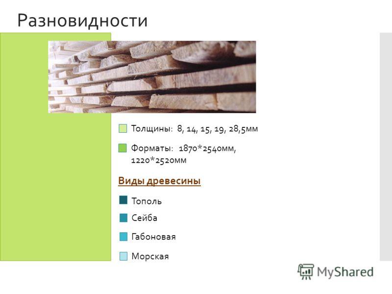 Разновидности Тополь Сейба Габоновая Морская Толщины: 8, 14, 15, 19, 28,5мм Форматы: 1870*2540мм, 1220*2520мм Виды древесины