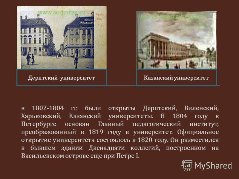 в 1802-1804 гг. были открыты Дерптский, Виленский, Харьковский, Казанский университеты. В 1804 году в Петербурге основан Главный педагогический институт, преобразованный в 1819 году в университет. Официальное открытие университета состоялось в 1820 г