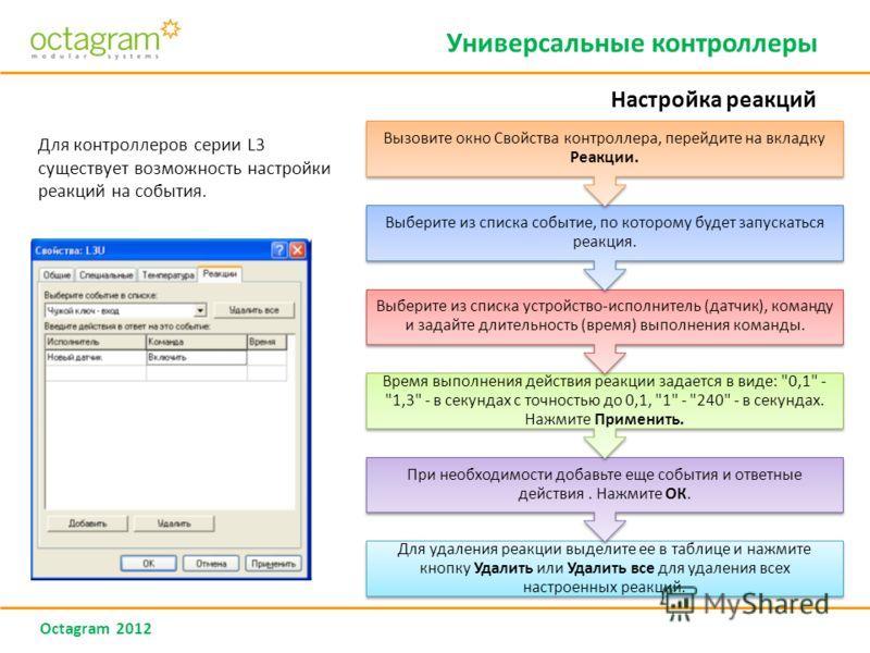 Octagram 2012 Для контроллеров серии L3 существует возможность настройки реакций на события. Универсальные контроллеры Настройка реакций