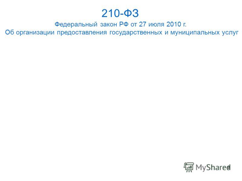 210-ФЗ Федеральный закон РФ от 27 июля 2010 г. Об организации предоставления государственных и муниципальных услуг 9