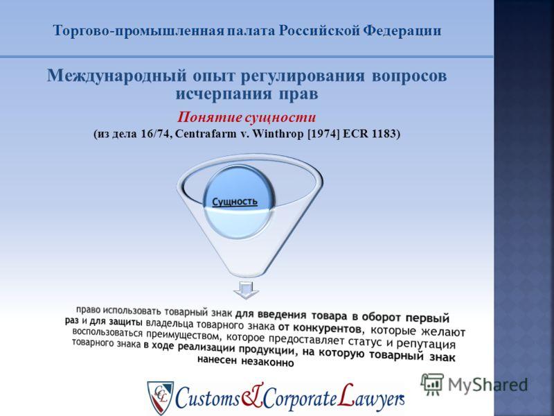 Международный опыт регулирования вопросов исчерпания прав Понятие сущности (из дела 16/74, Centrafarm v. Winthrop [1974] ECR 1183) Торгово-промышленная палата Российской Федерации