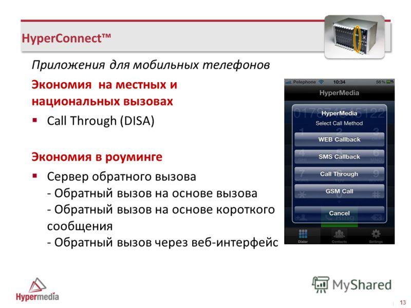 I I HyperConnect Приложения для мобильных телефонов Экономия на местных и национальных вызовах Call Through (DISA) Экономия в роуминге Сервер обратного вызова - Обратный вызов на основе вызова - Обратный вызов на основе короткого сообщения - Обратный