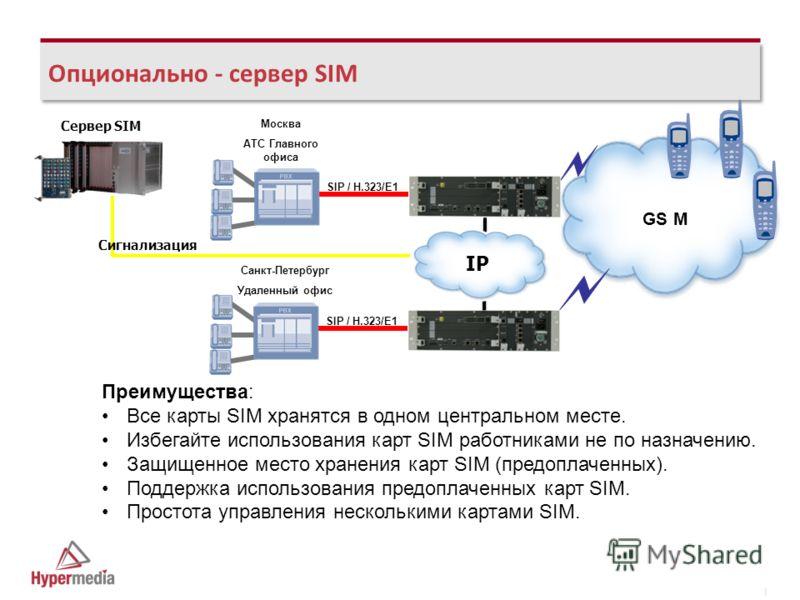 I I Опционально - сервер SIM GS M SIP / H.323/E1 IP Сигнализация Сервер SIM Преимущества: Все карты SIM хранятся в одном центральном месте. Избегайте использования карт SIM работниками не по назначению. Защищенное место хранения карт SIM (предоплачен