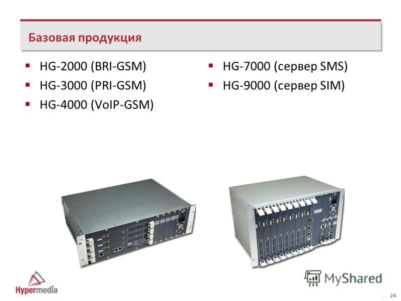 I I HG-2000 (BRI-GSM) HG-3000 (PRI-GSM) HG-4000 (VoIP-GSM) Базовая продукция 24 HG-7000 (сервер SMS) HG-9000 (сервер SIM)