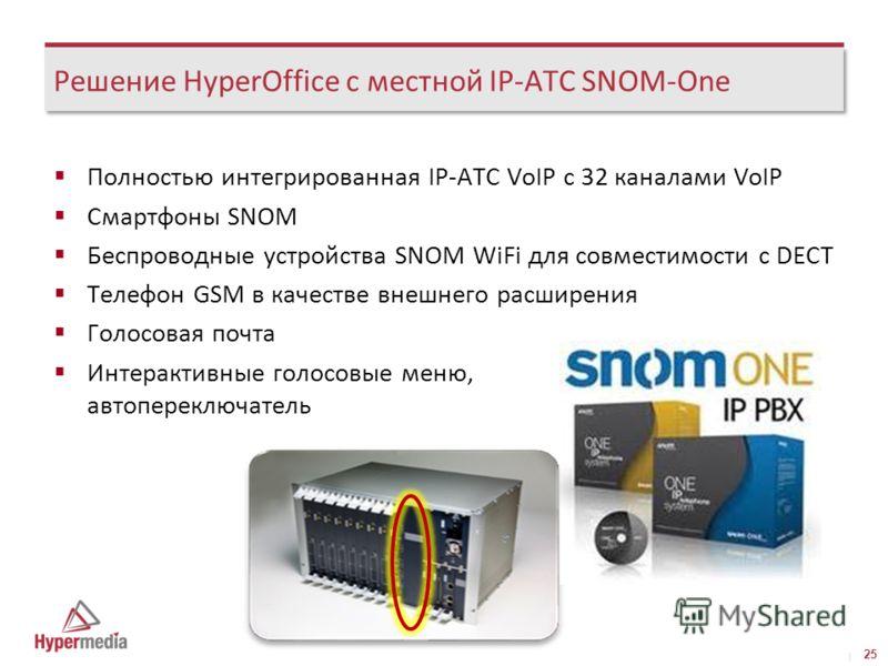 I I Решение HyperOffice с местной IP-АТС SNOM-One Полностью интегрированная IP-АТС VoIP с 32 каналами VoIP Смартфоны SNOM Беспроводные устройства SNOM WiFi для совместимости с DECT Телефон GSM в качестве внешнего расширения Голосовая почта Интерактив