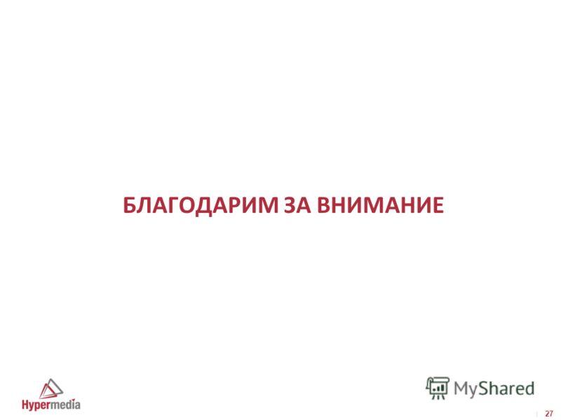 I I 27 БЛАГОДАРИМ ЗА ВНИМАНИЕ