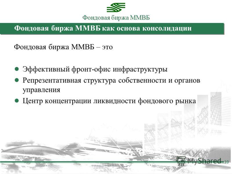 Фондовая биржа ММВБ 10 Фондовая биржа ММВБ как основа консолидации Фондовая биржа ММВБ – это Эффективный фронт-офис инфраструктуры Репрезентативная структура собственности и органов управления Центр концентрации ликвидности фондового рынка