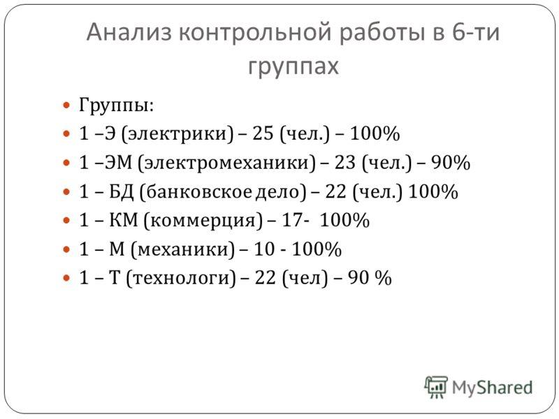 Анализ контрольной работы в 6- ти группах Группы : 1 – Э ( электрики ) – 25 ( чел.) – 100% 1 – ЭМ ( электромеханики ) – 23 ( чел.) – 90% 1 – БД ( банковское дело ) – 22 ( чел.) 100% 1 – КМ ( коммерция ) – 17- 100% 1 – М ( механики ) – 10 - 100% 1 – Т