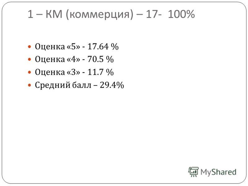 1 – КМ ( коммерция ) – 17- 100% Оценка «5» - 17.64 % Оценка «4» - 70.5 % Оценка «3» - 11.7 % Средний балл – 29.4%