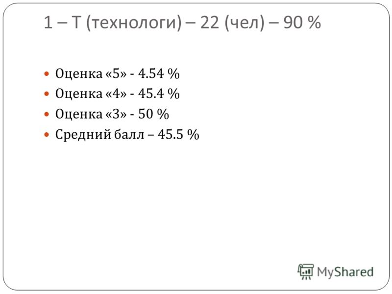 1 – Т ( технологи ) – 22 ( чел ) – 90 % Оценка «5» - 4.54 % Оценка «4» - 45.4 % Оценка «3» - 50 % Средний балл – 45.5 %