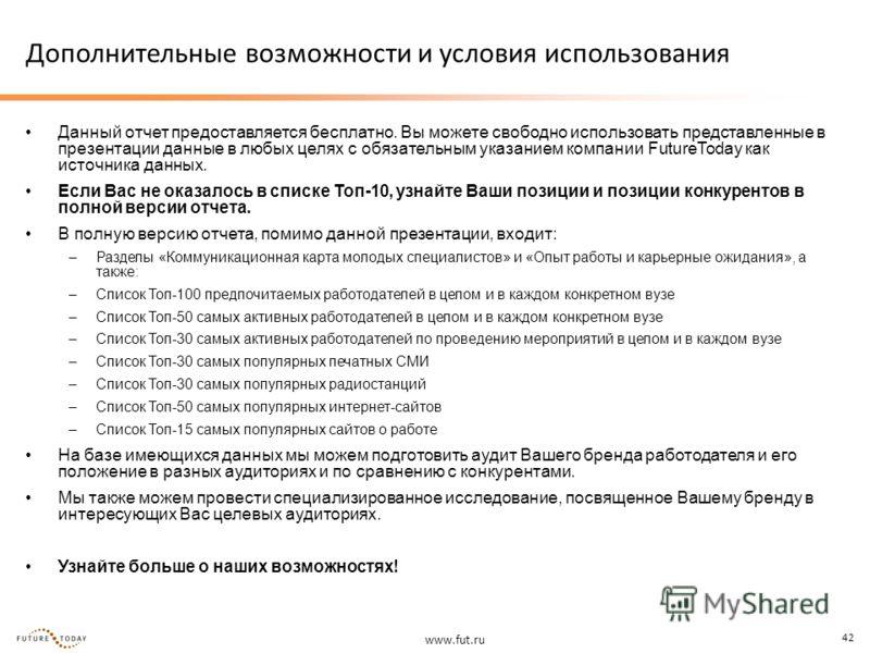 www.fut.ru 42 Дополнительные возможности и условия использования Данный отчет предоставляется бесплатно. Вы можете свободно использовать представленные в презентации данные в любых целях с обязательным указанием компании FutureToday как источника дан