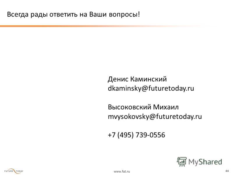 www.fut.ru 44 Всегда рады ответить на Ваши вопросы! Денис Каминский dkaminsky@futuretoday.ru Высоковский Михаил mvysokovsky@futuretoday.ru +7 (495) 739-0556