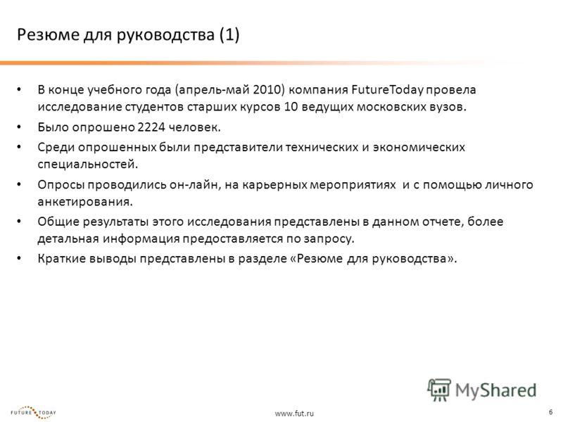 www.fut.ru 6 Резюме для руководства (1) В конце учебного года (апрель-май 2010) компания FutureToday провела исследование студентов старших курсов 10 ведущих московских вузов. Было опрошено 2224 человек. Среди опрошенных были представители технически