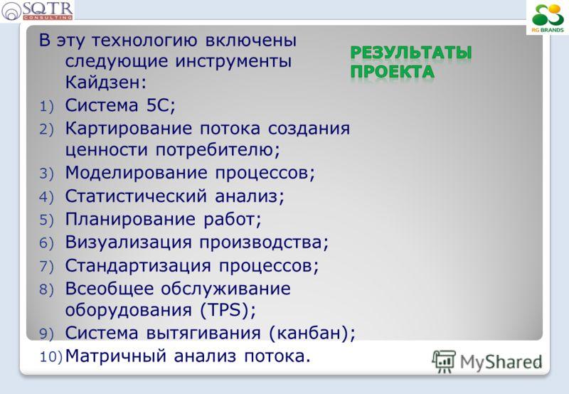 В эту технологию включены следующие инструменты Кайдзен: 1) Система 5С; 2) Картирование потока создания ценности потребителю; 3) Моделирование процессов; 4) Статистический анализ; 5) Планирование работ; 6) Визуализация производства; 7) Стандартизация