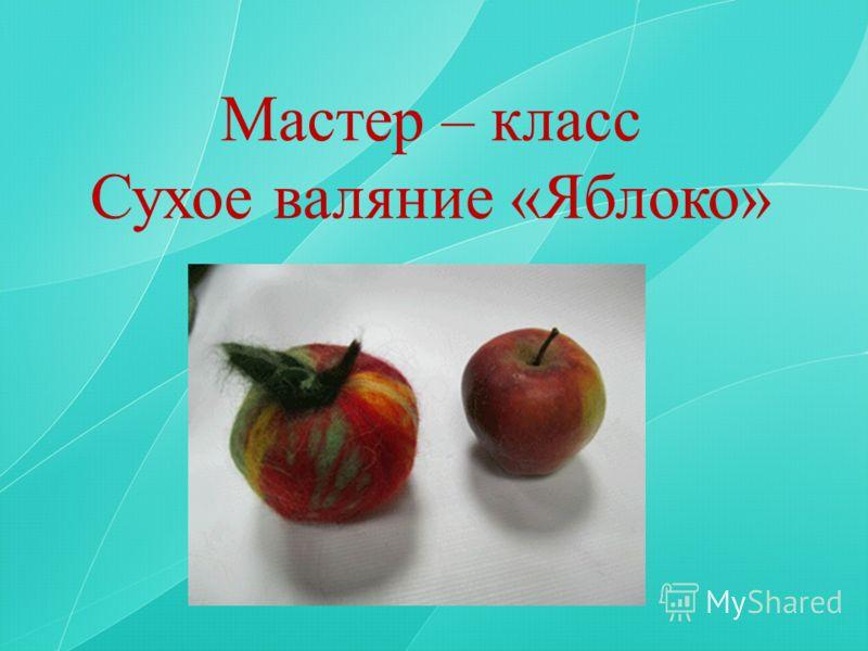 Мастер – класс Сухое валяние «Яблоко»