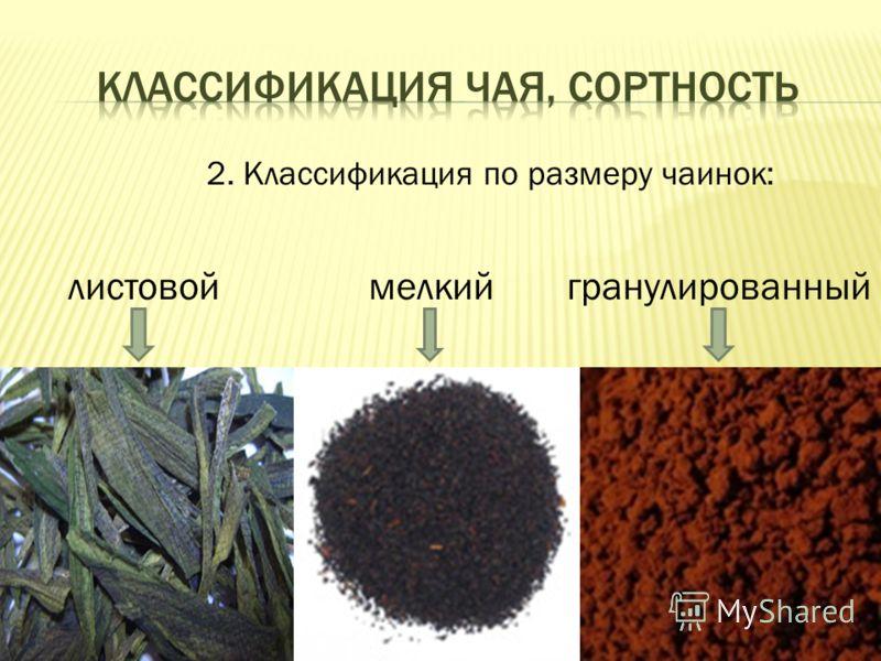 2. Классификация по размеру чаинок: листовоймелкийгранулированный