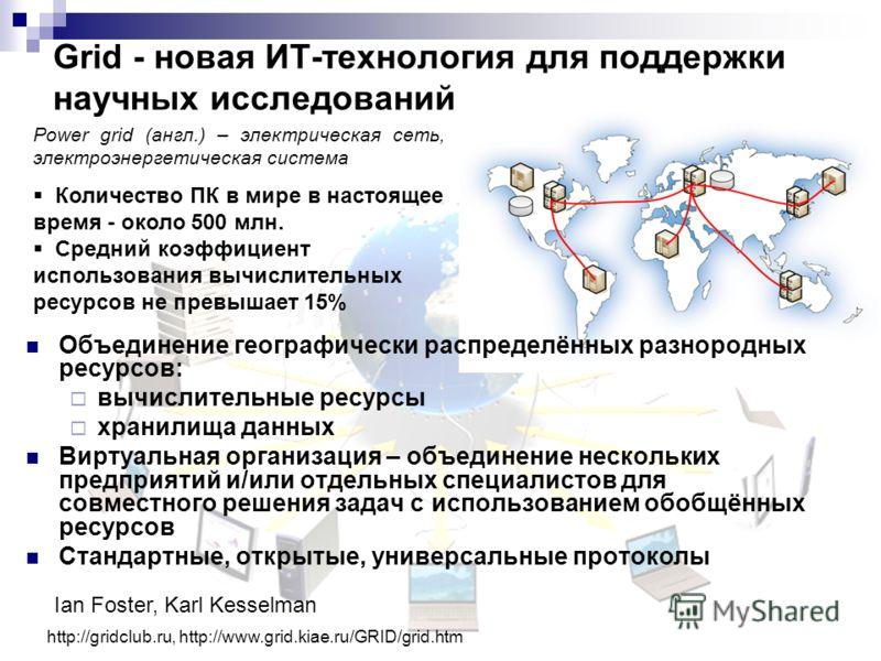 Grid - новая ИТ-технология для поддержки научных исследований http://gridclub.ru, http://www.grid.kiae.ru/GRID/grid.htm Power grid (англ.) – электрическая сеть, электроэнергетическая система Ian Foster, Karl Kesselman Количество ПК в мире в настоящее