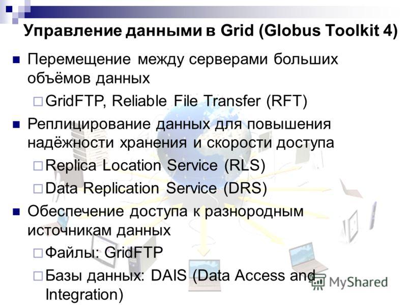 Управление данными в Grid (Globus Toolkit 4) Перемещение между серверами больших объёмов данных GridFTP, Reliable File Transfer (RFT) Реплицирование данных для повышения надёжности хранения и скорости доступа Replica Location Service (RLS) Data Repli