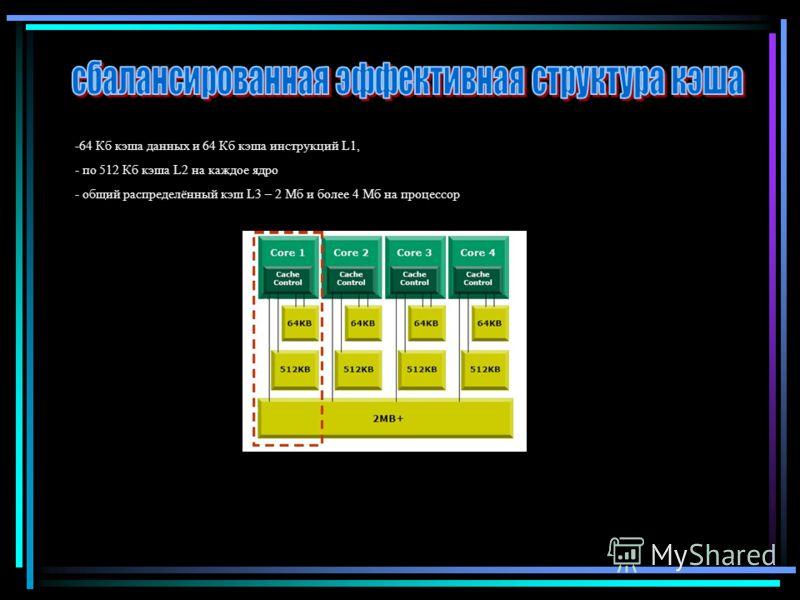 -64 Кб кэша данных и 64 Кб кэша инструкций L1, - по 512 Кб кэша L2 на каждое ядро - общий распределённый кэш L3 – 2 Мб и более 4 Мб на процессор