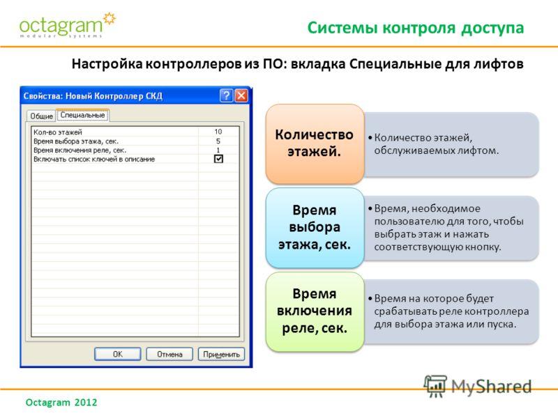 Octagram 2012 Системы контроля доступа Настройка контроллеров из ПО: вкладка Специальные для лифтов