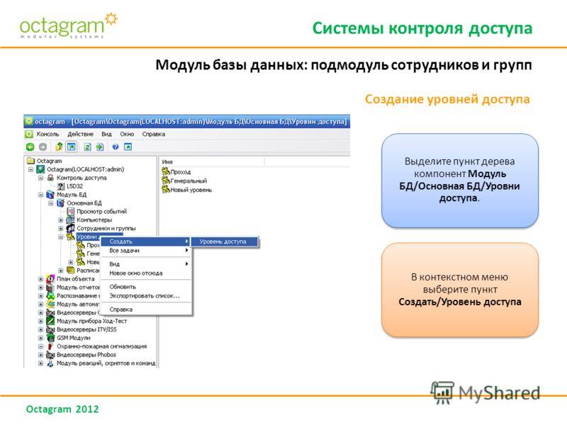 Octagram 2012 Создание уровней доступа Системы контроля доступа Модуль базы данных: подмодуль сотрудников и групп