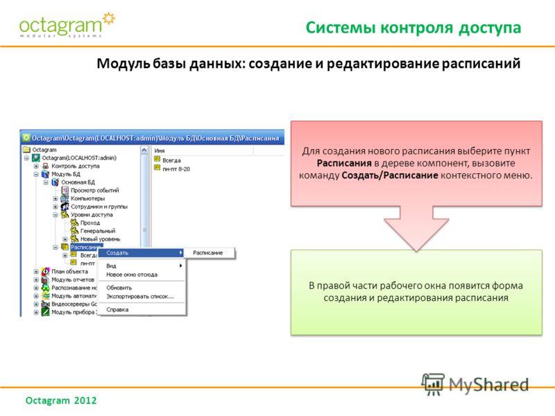 Octagram 2012 Модуль базы данных: создание и редактирование расписаний Системы контроля доступа