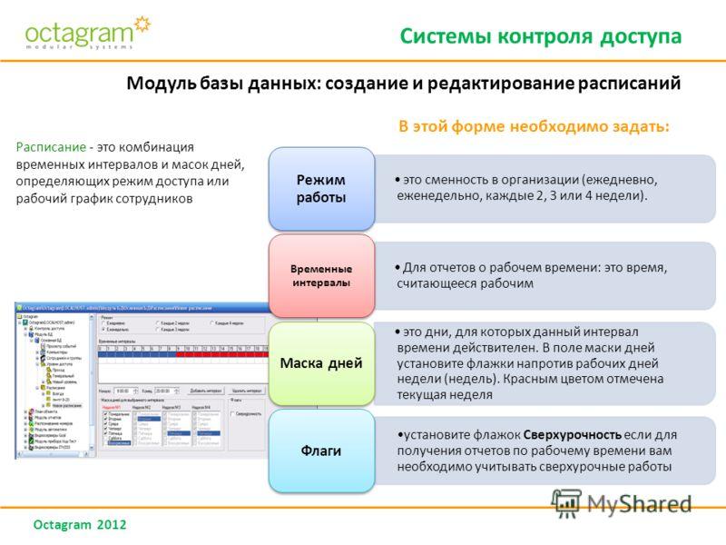 Octagram 2012 Модуль базы данных: создание и редактирование расписаний Расписание - это комбинация временных интервалов и масок дней, определяющих режим доступа или рабочий график сотрудников В этой форме необходимо задать: Системы контроля доступа