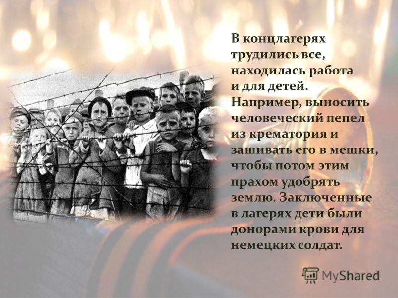 В концлагерях трудились все, находилась работа и для детей. Например, выносить человеческий пепел из крематория и зашивать его в мешки, чтобы потом этим прахом удобрять землю. Заключенные в лагерях дети были донорами крови для немецких солдат.