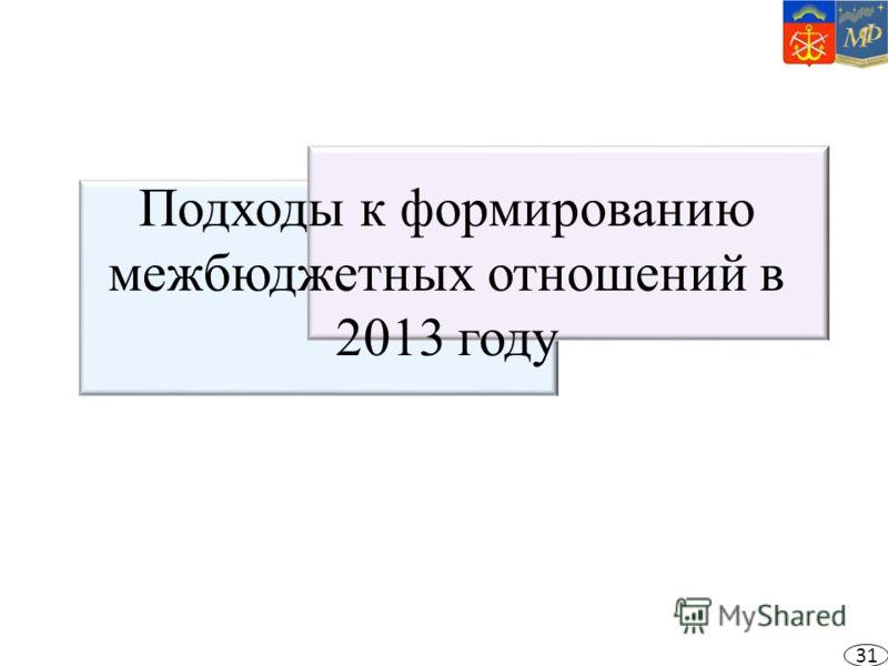 Подходы к формированию межбюджетных отношений в 2013 году 31